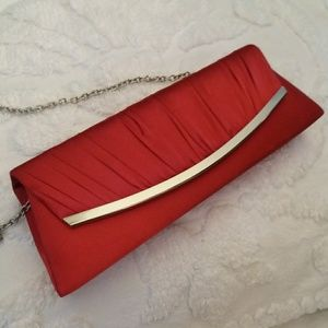 Jessica McClintock Red Satin Clutch with Chain
